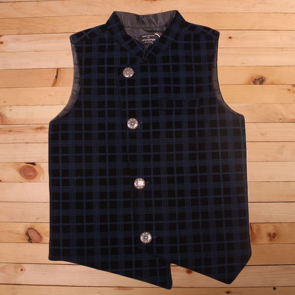 Blue and black waistcoat for Boys-Front-Lilchamps