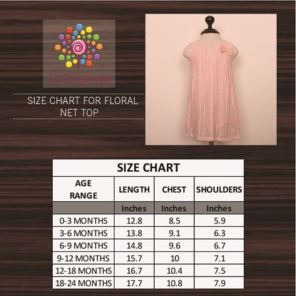 Floral Peach net top for baby girls-Size Chart-Lilchamps