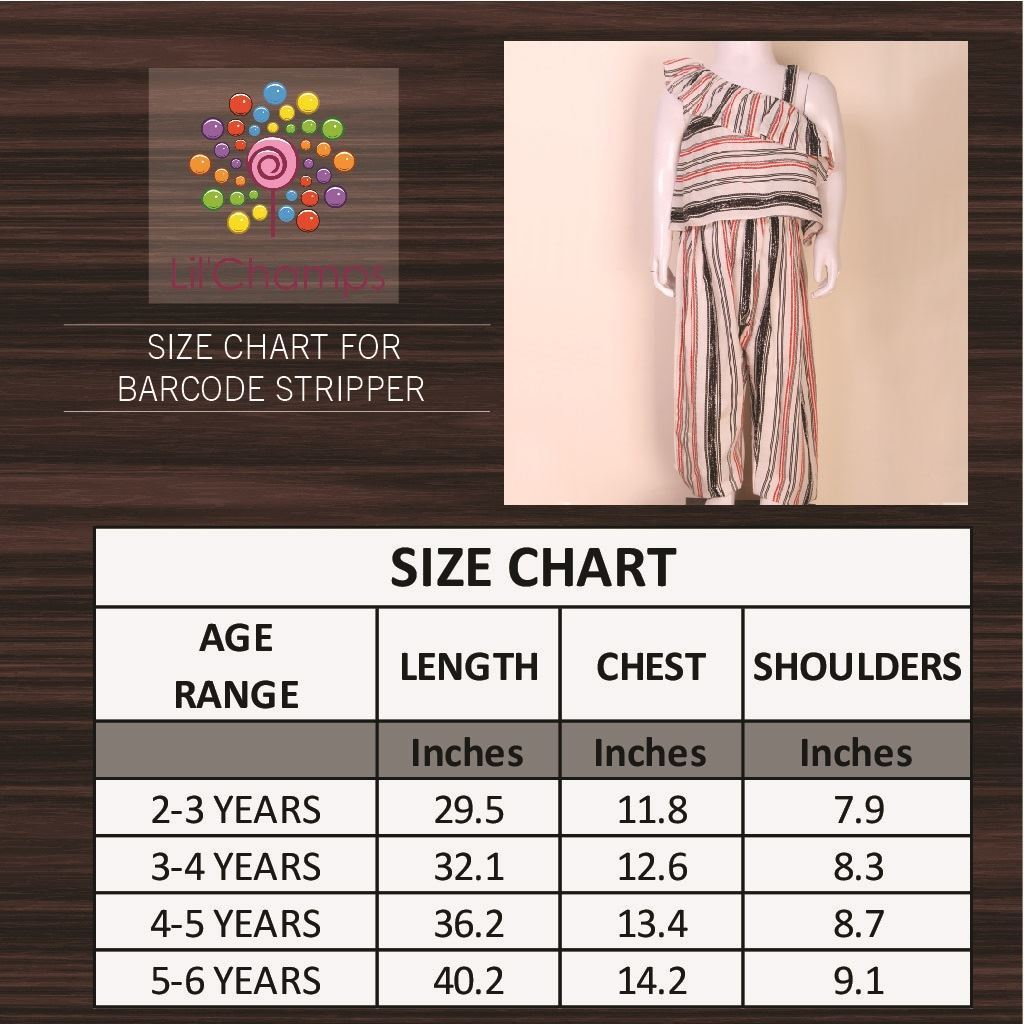 Jumpsuit for Girls-size chart-Lilchamps