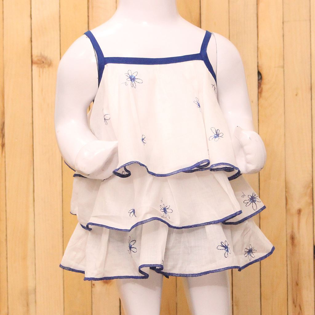 Blue cotton romper for baby girls-lilchmps