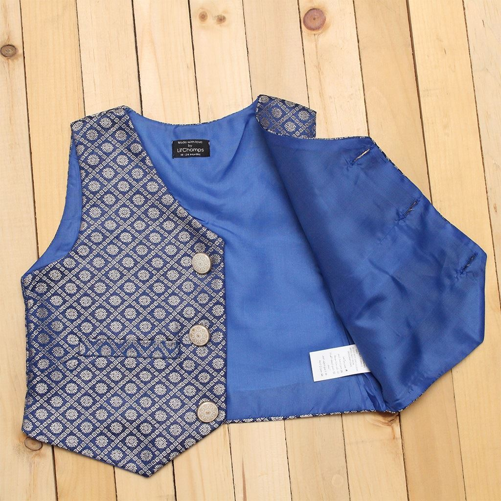 Party wearJamawaar waist coat for boys-Lilchmap's
