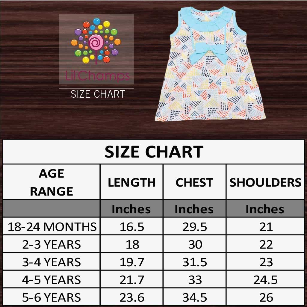 lawn dress for baby girls-Sizechart-lilchamps