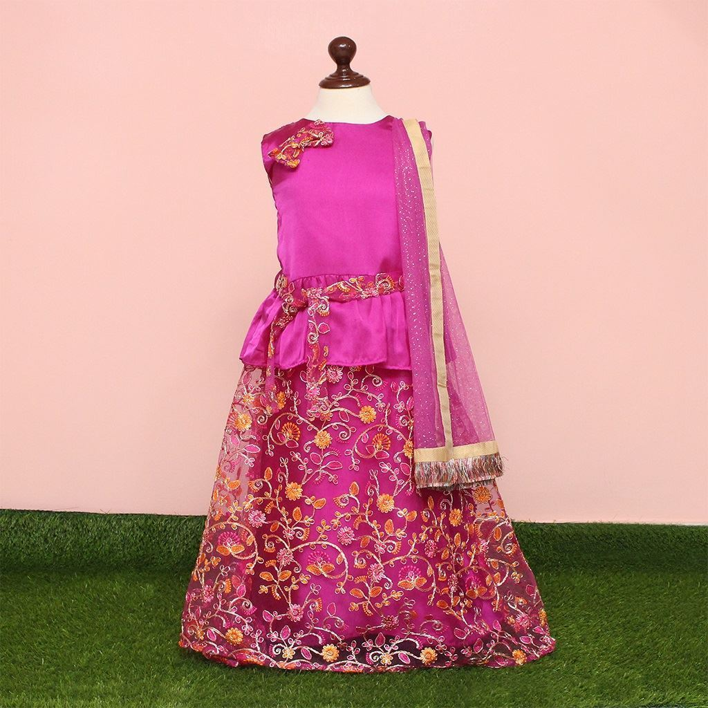 lehnga dress for girls-Magenta-lilchamps