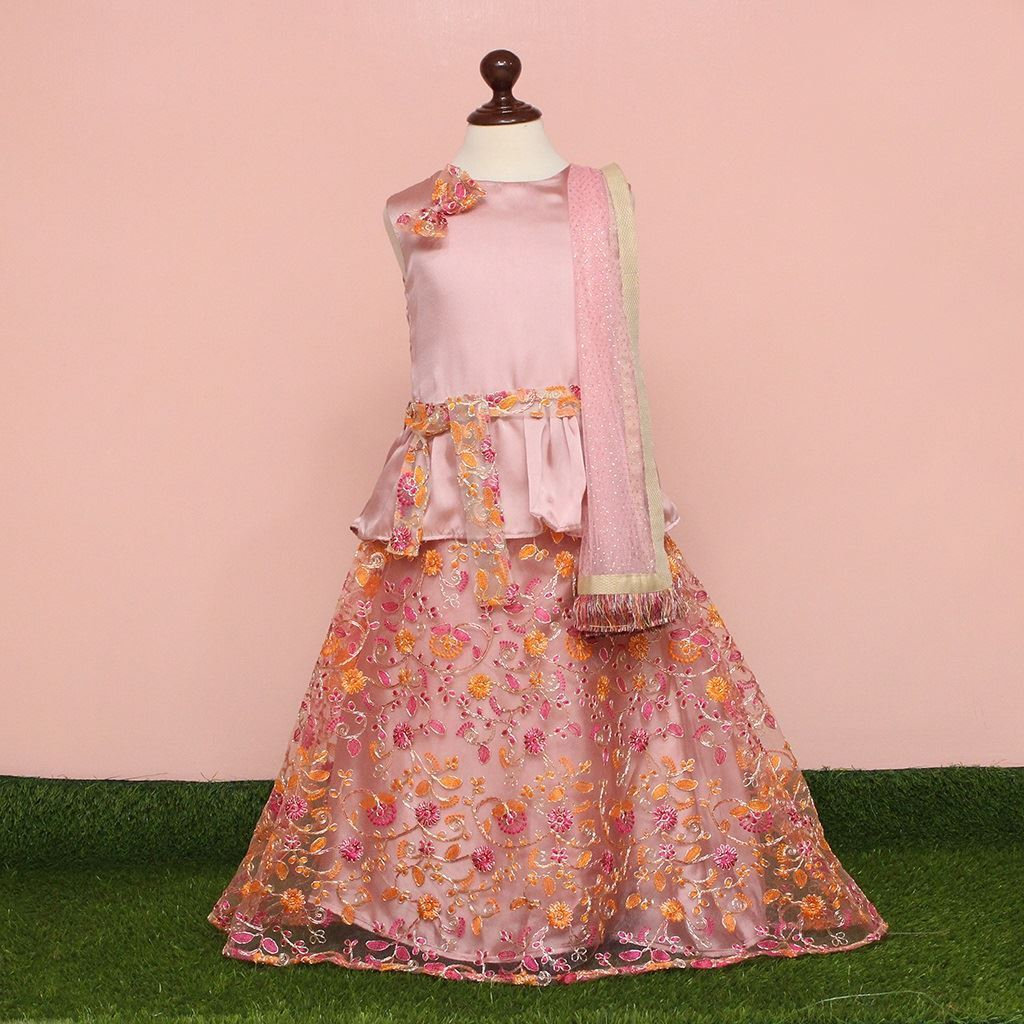 lehnga dress for girls-Tea Pink-lilchamps