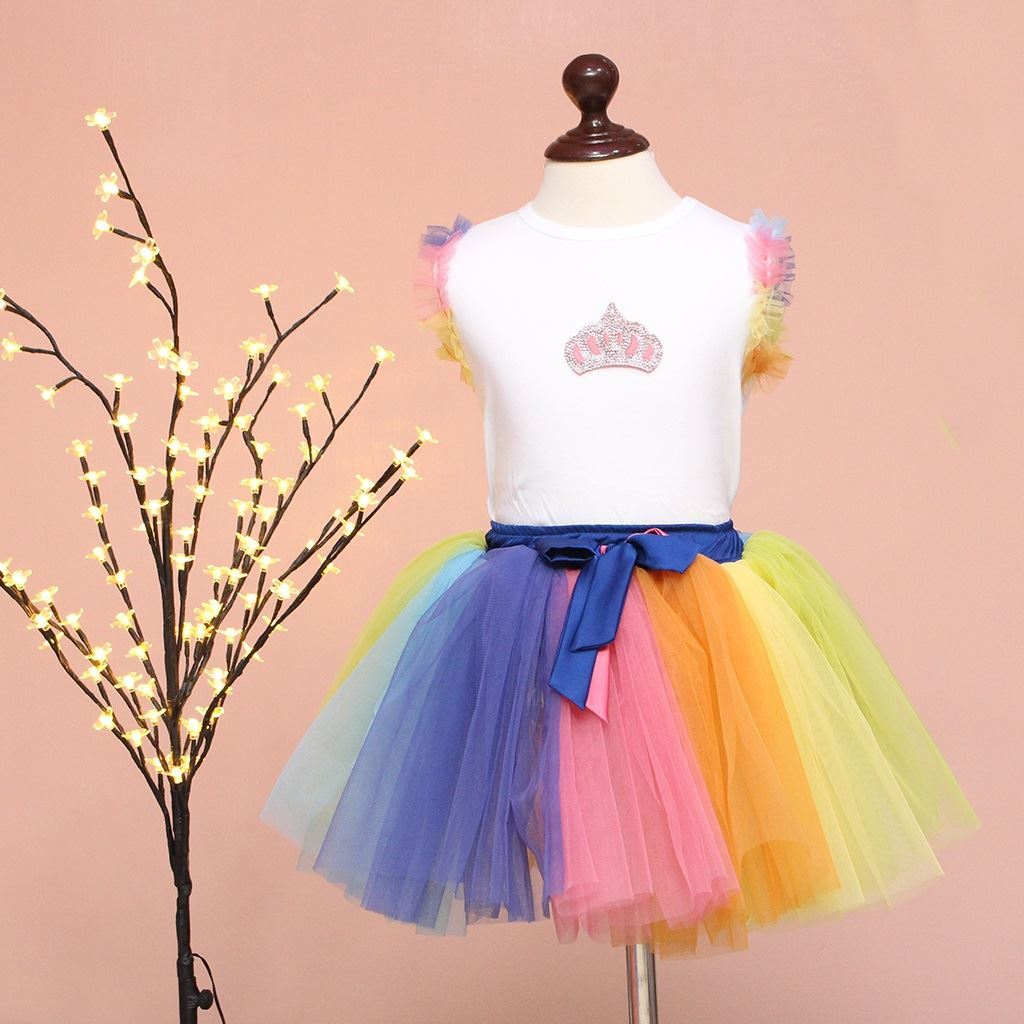 rainbow tutu skirt with shirt-lilchamps