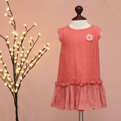 Cotton Net top for girls-Peach-Lilchamp's