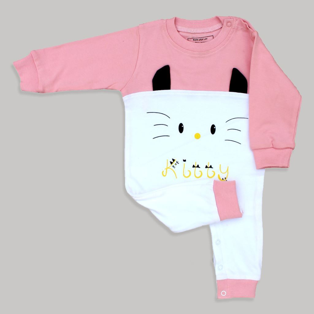 Pink-Kitty Romper Infant Unisex
