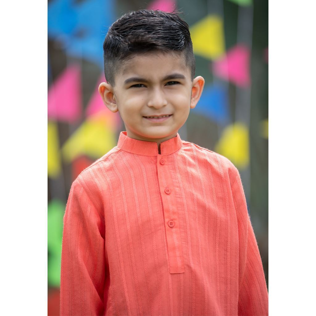 Peach Doriya Kurta & Trouser Dress for Boys