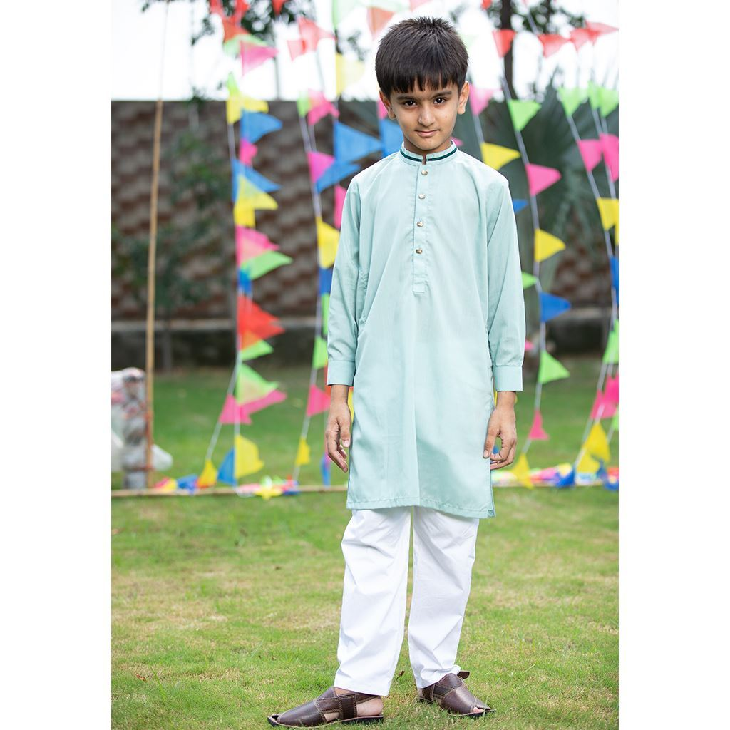 Light Green Kurta & Trouser Dress for Boys