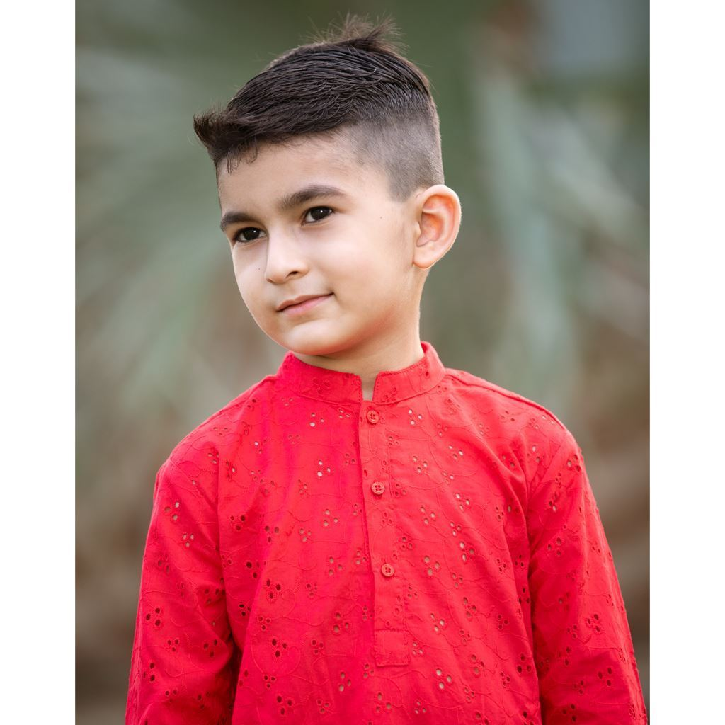 Red Chikenkari Kurta Trouser Dress for Boys