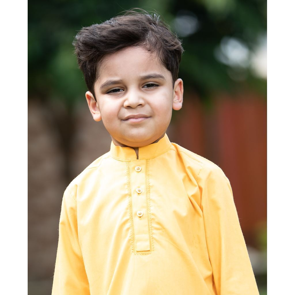 Yellow Embroidery Kurta & Trouser Dress for Boys