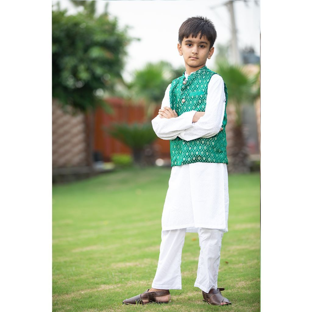 White Chikenkari Kurta Trouser Dress for Boys