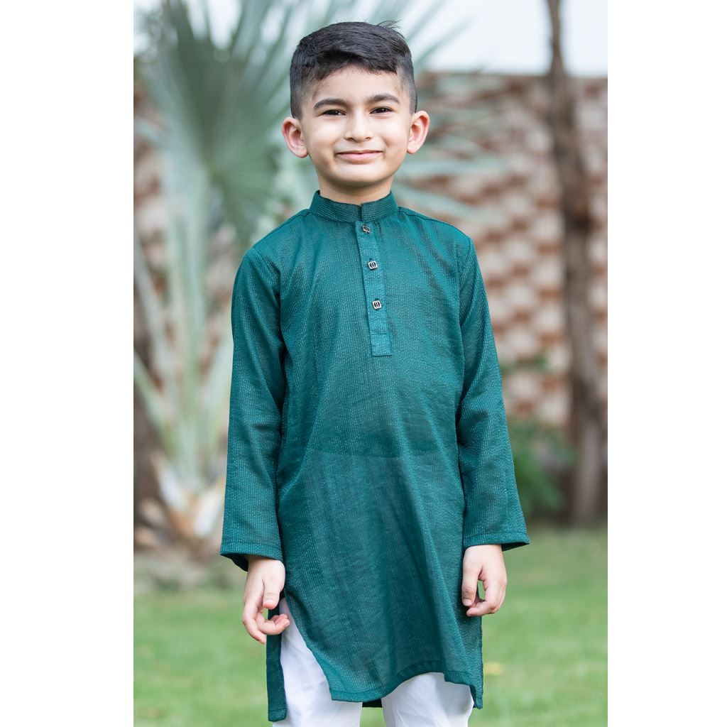 Green Shimmer Cotton Kurta Trouser Dress for Boys