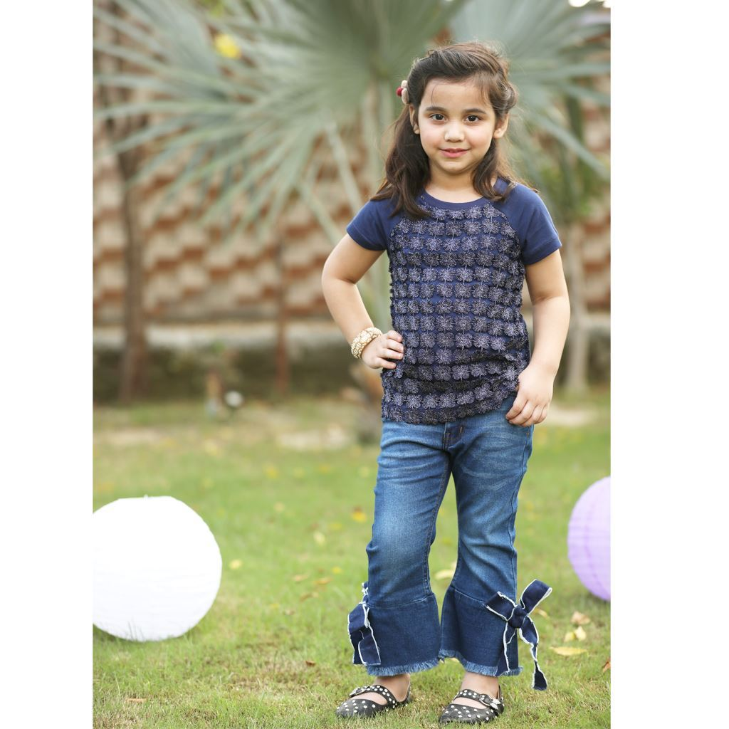 Lace T-Shirt for Girls-Blue