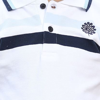 White Polo Shirt with Blue Chest Stripes for Boys