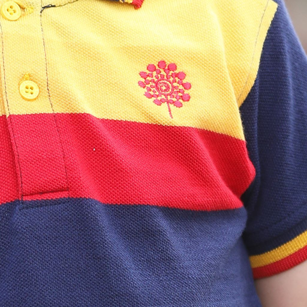 Yellow and Red Chest Striped Polo Shirt for Boys