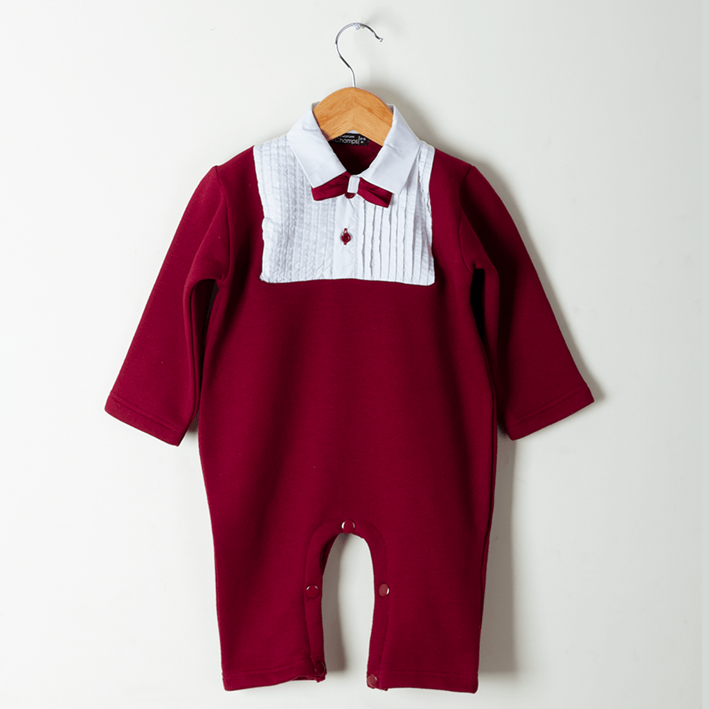 Pleated fleece Romper for boy by lilchamps