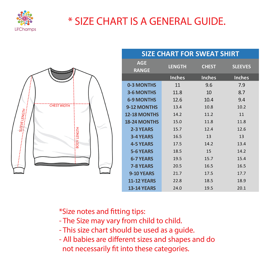 Sweat Shirt size guide for boys by lilchamps