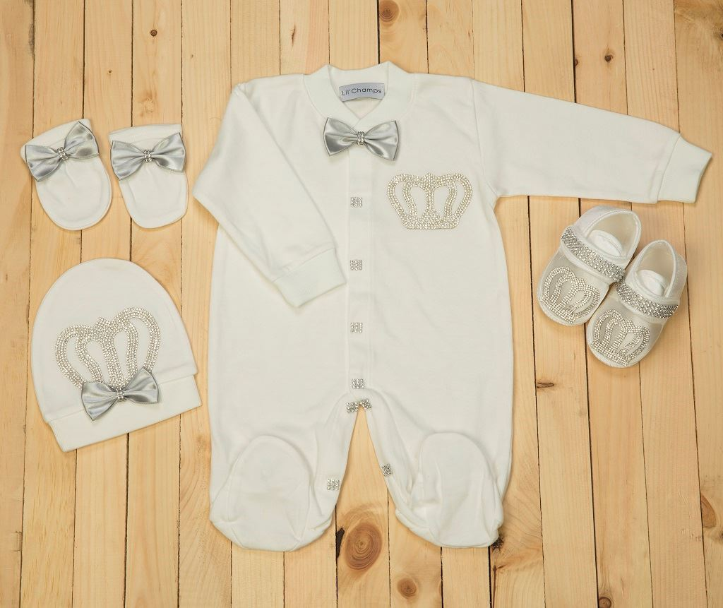 4 Pieces Grey and White set for Baby Boys-Lilchamps