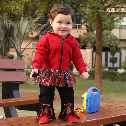 Red Hoodie for Girls-Ruffles-Lilchamps