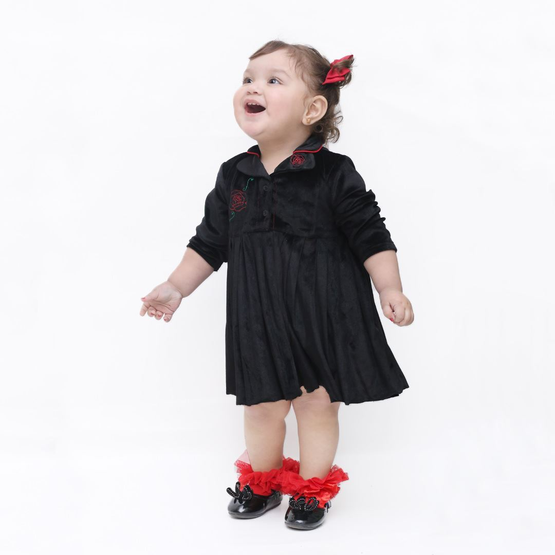 velvet frock for girls by lilchamps