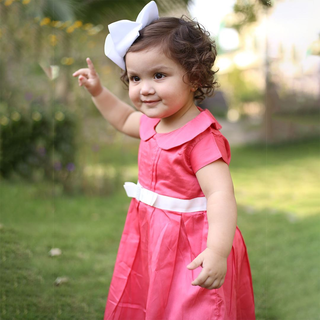 candy pink dress for girls-Close Up-lilchamp's