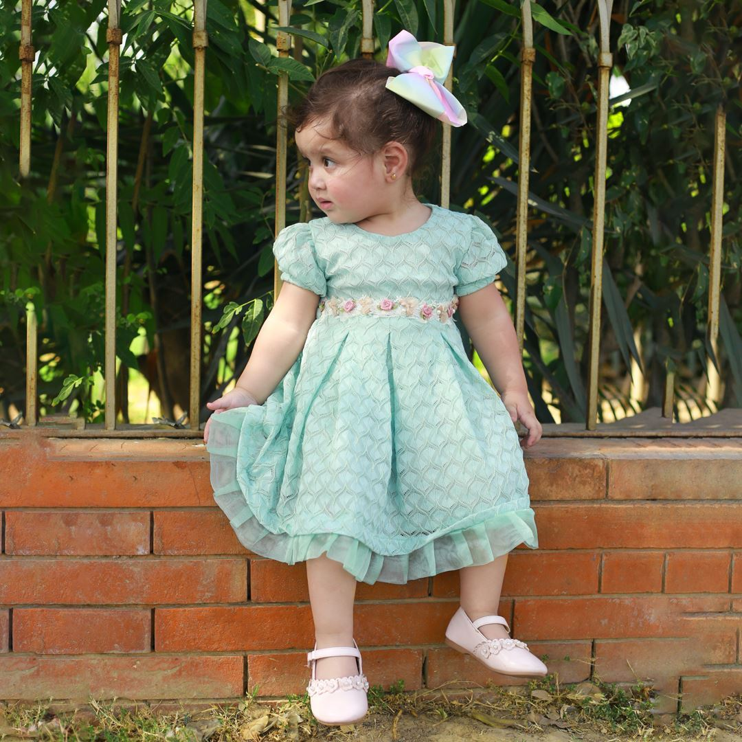 seagreen dress/ frock for baby girls by Lilchamp's